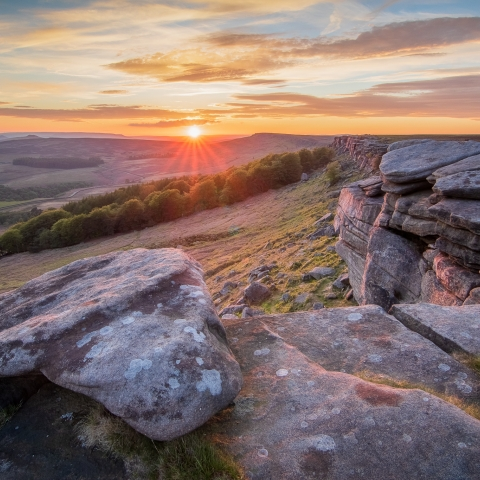 Sunset along Stanage Edge by Kieran Metcalfe