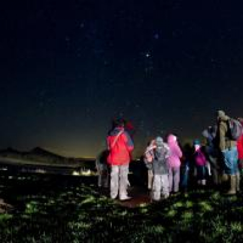 Stargazing at Cawfields Dark Sky Discovery Site on Hadrian's Wall - Northumberland International Dark Sky Park Copyright Cain Scrimgeour