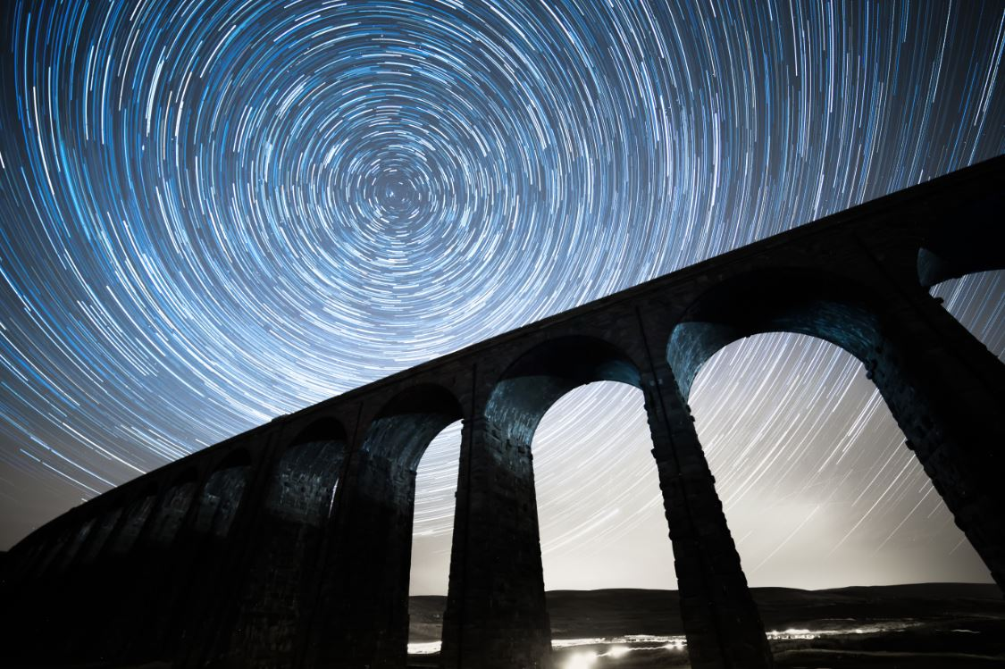 Stars over the Ribblehead viaduct in the Yorkshire Dales
