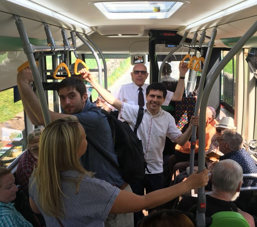 Alex Sobel enjoys a ride on the DalesBus